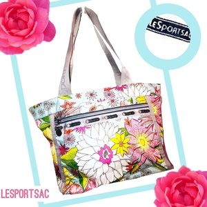 LESPORTSAC Sky Blue Floral Tote